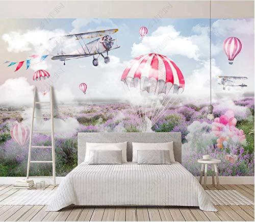 Fototapete 3D Effekt Tapete Blauer Himmel Weiße Wolken Flugzeug Lila Lavendel Natürliche Landschaft Fototapete Vliestapete Tapeten Wandtapete Wanddeko Wandbilder 200x140cm