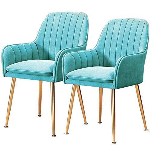 2 stuks retrostoelen keuken fluweel zachte stoelen eetkamer met armleuningen rugleuning stoelen tang verguld metalen voeten antislip kruk make-up Blauw