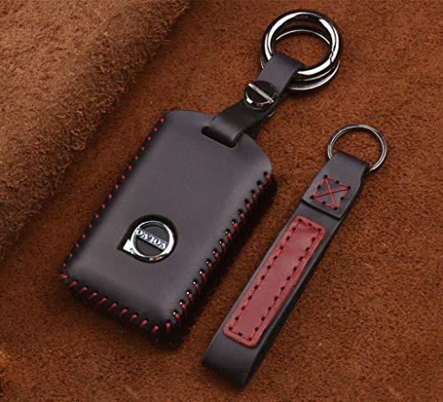 IMBM Schlüsselbund Auto-Schlüsseltasche for Volvo Lederhandmade-Auto-Schlüssel-Tasche Crazy Horse Leder Retro Persönlichkeitsschlüssel Set Auto-Schlüssel-Schutztasche (Color : Black)