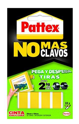 Pattex Doppelseitiges Klebeband, keine Nägel mehr, entfernbar, 10 Streifen