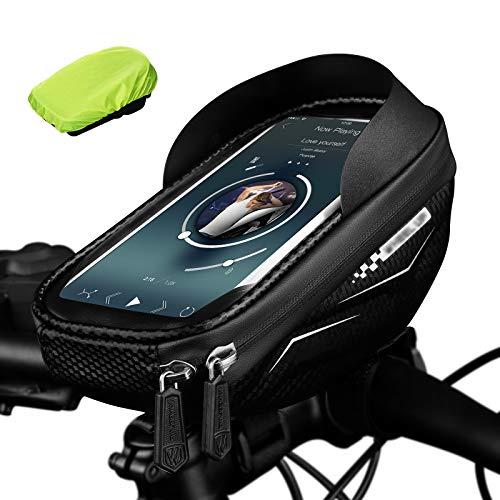 ANVAVA Bolsa para cuadro de bicicleta, resistente al agua, con pantalla táctil sensible, adecuada para smartphones de menos de 6,5 pulgadas