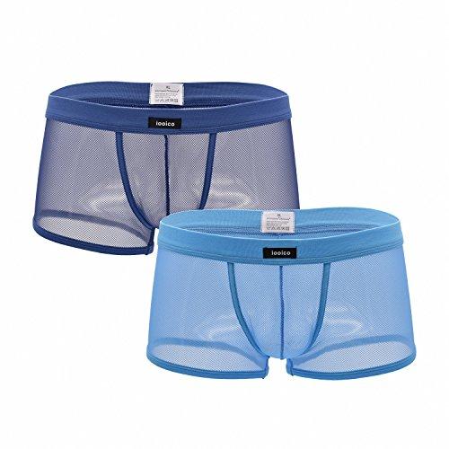 iooico Men's Boxer Briefs, Soft Mesh Underpants See-Through Underwear Blue+navy M (09XL)