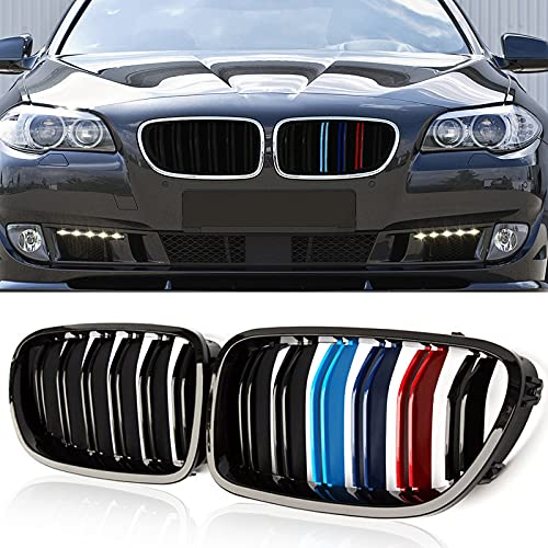 ATPOEN Front Grille Grill Kidney Double Slats for BMW 5 Series F10 F11 F18 M5 520i 523i 525i 528i 530i 535i 550i 2010 2011 2012 2013 2014 2015 2016, 2Pcs (M-Color)