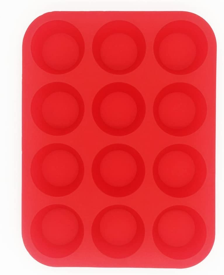 BakeWarePlus 12 Chicago Mall Cups Silicone Muffin Baking Cupcake Pan Mold Red Mail order