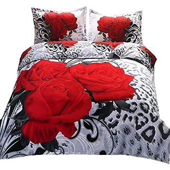 Queen 3D Red Rose Black Print Queen/'s MN000 Queens 800 Thread Count 4 Piece Duvet Cover Set