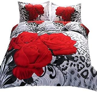 Suncloris,3d Wild Black Red Rose,Queen Size,4pc Bedding Sheet Sets,1Duvet Cover,1Flat Sheet,2 Pillowcase(no Comforter inside)