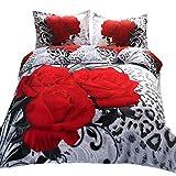 Suncloris 3D Wild Black Red Rose Queen Size 4pc Bedding Sheet Sets 1Duvet Cover 1Flat Sheet 2 Pillowcase (no Comforter Inside)