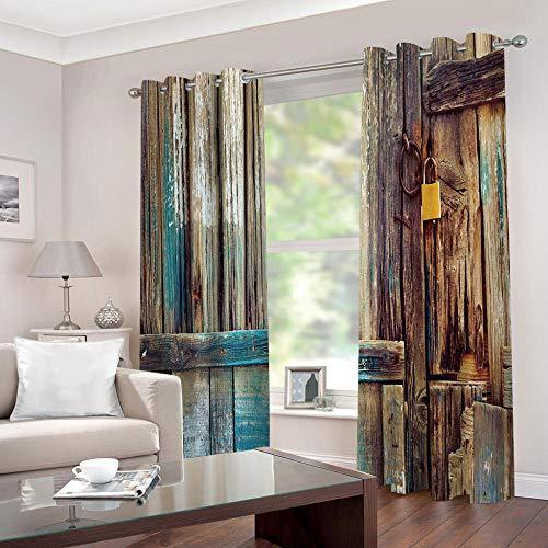 WAFJJ Gardinen Vintage & Holz Verdunkelungsvorhänge mit Ösen Gardinen Wärmeschutz & Geräuschreduzierung für Zimmer - Größe:2X B110 x H215cm