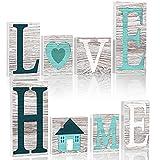 Blulu Set de 4 Letreros de Palabra Letras de Madera Decoraciones de Madera de Doble Cara de Home Love Letreros de Letras Recortables Independientes Decoraciones Rústicas de Mesa Granja