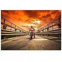 夕日のクールなオートバイレーサー壁アートポスターHdプリントキャンバス絵画家の装飾リビングルームアートワークギフト寝室の装飾-50x75CMフレームなし