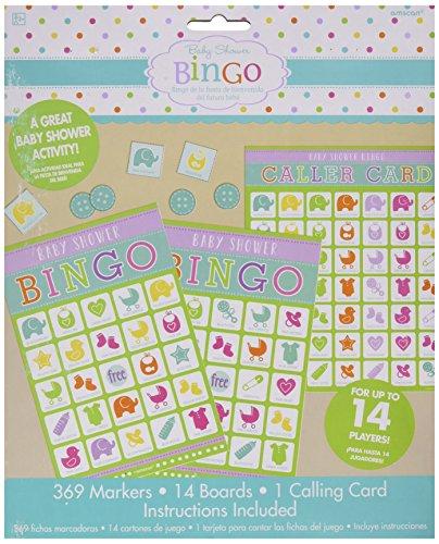 amscan Game-1pc Juego de bingo para baby shower, 1 unidad, multicolor, 10g