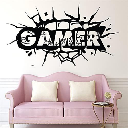 Fit Kick Hit Crack Wall Video Game Zone Gamer Logo Etiqueta de la pared Vinilo Calcomanía para coche Dormitorio de niño Sala de estar Sala de juegos Club Decoración para el hogar Mural