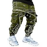 Pantaloni da uomo streetwear Hip Hop Streetdance Baggy Pants Cashew stampa floreale pantaloni riflettenti per la notte pantaloni casual casual per uomo con tasche, Verde militare, L