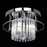 LIGHTESS Lampara Techo de cristal,Lámpara de araña de cristal de Casquillo G9, Lámpara Colgante Moderna Cristal para la sala de estar, dormitorio, pasillo, dormitorio (D28*H15 cm)