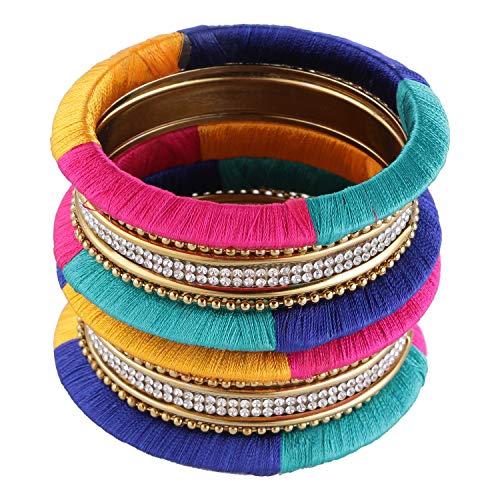Efulgenz Fashion Jewelry Indian Bollywood Gold Plated Crystal Beaded Multicolor Silk Thread Bracelet Bangle Set (10 pc)