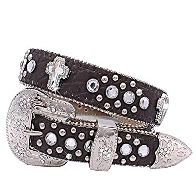 1371 Womens Cross Western Belts Cowgirl Bling Belts Rodeo Belts Plus Size Western Belts For Cowgirls (BROWN, XL)