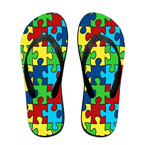 Iop  Autism Puzzle Puzzles Flip Flops Sandalias de Playa Zapatos de Piscina, PVC, Negro, Medium