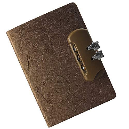 Cuadernos de diario en blanco de papel rayado plan Cuaderno con cerradura Pu Cuero Diario Planificador Libro Papelería escolar Regalos Cuaderno engrosamiento Paquete de trabajo escolar Diario de cuade
