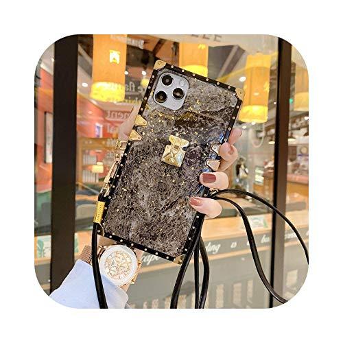 Lujo oro Foil Glitter Mármol cuadrado teléfono caso para Samsung S8 S9 S10 S20 Plus NOTE10 20 A51 A71 Crossbody Lanyard Correa cubierta con cordón 2-Para Samsung S9