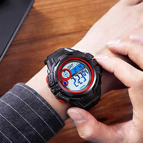 Digitale Sport Horloge Kompas Waterdichte Achterlicht Smart Elektronische Polshorloge met Chronograaf Countdown Kalender Calorie Monitor Stappenteller voor Vrouwen Mannen Rood