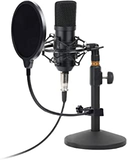USB Condenser Microphone Kit PC Computer Podcast Streaming Cardioid Mic Plug & Play With USB XLR/Pop Filter/Round Base Stand/Shock Mount for Computer YouTube Gaming Sound Recording