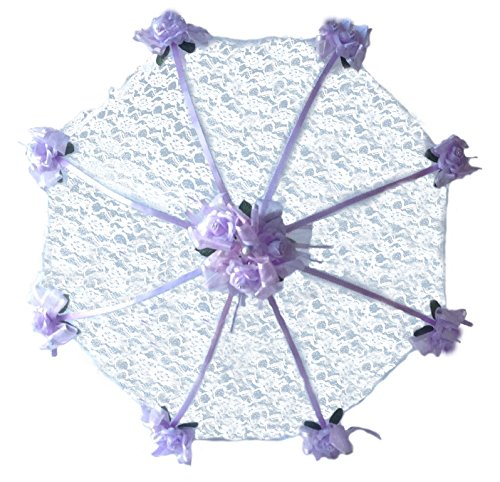 "Decorated Bridal Shower Wedding White Lace Umbrella Parasol 36"" Lavender Roses"