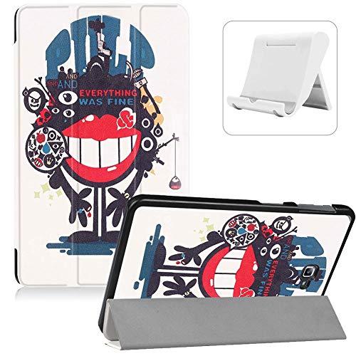 Shinyzone Hülle für Samsung Galaxy Tab A 10.1 Zoll 2016 SM-T580/T585,Ultradünn Superleicht PU Leder Dreifach Ständer Smart Cover mit Auto Wake/Sleep Funktion + Handyhalterung,Monster