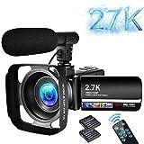 Camescope Caméra vidéo 2.7K Caméscope Numérique UHD 30MP 18X avec éclairage de Remplissage LED Caméra de Vlogging à écran Tactile IPS de 3,0 'pour Youtube avec Microphone, Pare-soleil