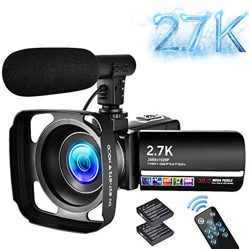 Videokamera 2.7K Camcorder UHD 30MP 18X Digital Zoom Digitale Videokamera mit LED Fülllicht 3.0