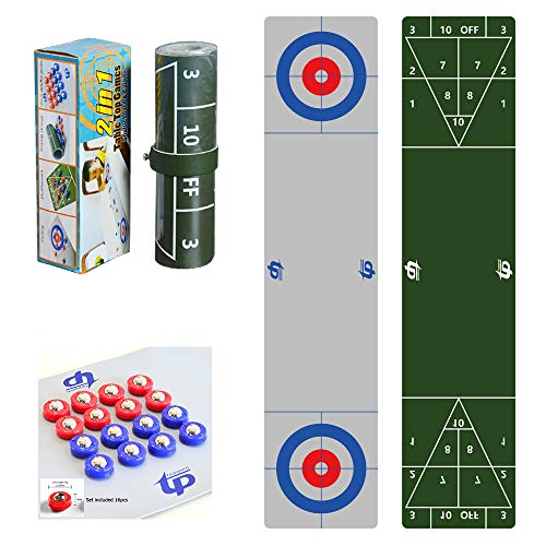 TORPSPORTS 2 in 1 Table Top Shuffleboard Pucks and Curling Games with 8 Rollers-Great for Everywhere Fun,Easy and Quick to Set-Up