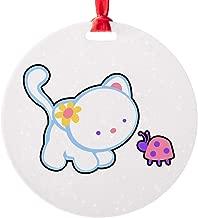 Round Ornament (2-Sided) Kitty Saying Hello to Ladybug