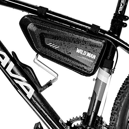 FCREW Fahrrad Dreiecktasche wasserdicht - Fahrradtasche Rahmen, Triangeltasche ideal für Fahrradschloss, Werkzeug, Regenjacke etc - MTB Tasche, Fahrrad Rahmentasche 1,5L Volumen Schwarz