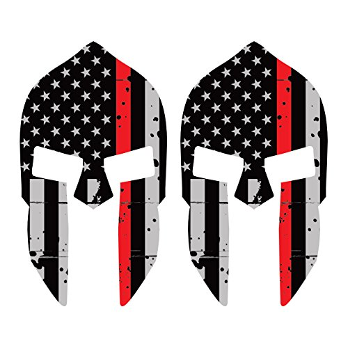 Two Pack Distressed Thin Red Line Subdued Spartan Helmet American FlagSticker FA Graphix Fire EMT US