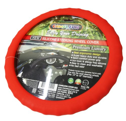 New Silicone Steering Wheel Cover- Racing Power Grip-ergonomic Handling (Red)