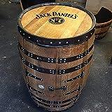 Getränkeschrank/ Weinregal, aus einem recyceltem Fass der Marke Jack Daniels, mit Aufschrift 'Balmoral', zwei Türen, Eiche massiv