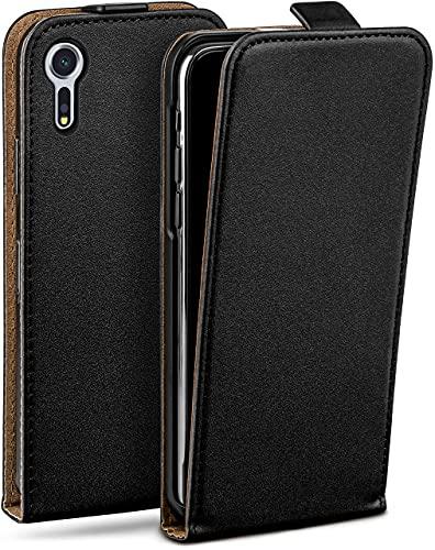 moex Flip Hülle für Sony Xperia XZs Hülle klappbar, 360 Grad R&um Komplett-Schutz, Klapphülle aus Vegan Leder, Handytasche mit vertikaler Klappe, magnetisch - Schwarz