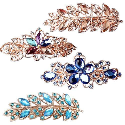 4 Stück Haarnadeln Kristall Haarspangen Strass Haarspangen für Frauen und Mädchen