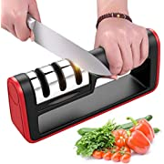 BYETOO Kitchen Knife Sharpener, Manual 3-Stage Knife Sharpening Tool,With Anti Slip Bas, Geramic Rod, Diamond Rod, Tungsten Steel Blade, Restore and Polish Blades, Safe and Easy to Use, for Straight Blade Kitchen Knives
