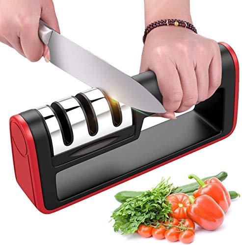 BYETOO Affilacoltelli da cucina - Coltello affilacoltelli 3 stadi Utensile per affilare coltelli diamantati per coltelli diritti, coltelli in ceramica, forbici, sicuro e facile da usare