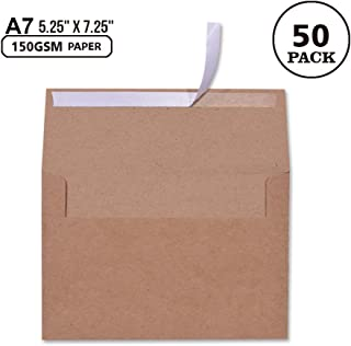 A7 Brown Kraft Paper Invitation 5 x 7 Envelopes - 50 Pack,Self Seal,for 5x7 Cards| Perfect for Weddings, Invitations, Baby Shower| Stationery for General, Office | 5.25 x 7.25 Inches