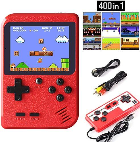 RCTOYS Handheld-Spielekonsole - Mini-Retro-Spielekonsole mit 400 klassischen Spielen und 3-Zoll-Farbbildschirmunterstützung und Unterstützung für das Spielen im Fernsehen und Zwei-Spieler-Spiele