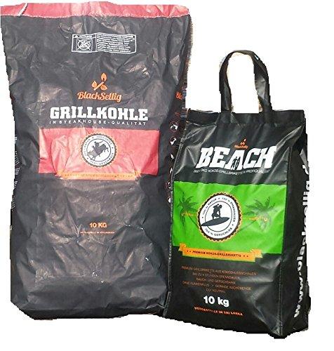BlackSellig 10 Kg Beach Kokos Grill Briketts + 10 Kg Steakhouse Kohle perfekte Profiqualität