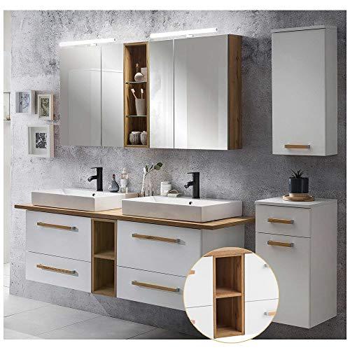 Lomadox Badmöbel Komplett Set mit 165cm Doppel-Waschtisch DABO-04 in weiß mit Landhaus Eiche B/H/T ca. 210/200/50 cm