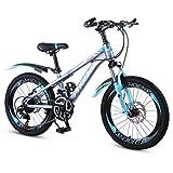 XXY Variable de la Escuela Infantil de Bicicletas Montañismo Mountain Bike Velocidad de Bicicletas adecuados for Las Bicicletas de los Estudiantes y de los niños (Color : Blue, Size : 18INCHES)
