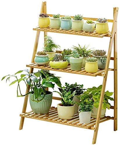 FANMENGY Flower Holder Plant Stand Multi-layer Flower Rack 3 Tier Ladder Retro Flower Racks Foldable Bamboo Corner Shelves for Plant Pots Holder Shelves/Rack Stand Garden Shelf Indoor or Outdoor No Re