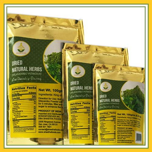 Shastha Nilavembu Powder (Dried Natural Herbs) (Pack of 3) Each Pkt 100g (B-P) Product from India (Tamil Nadu)