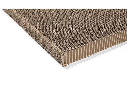 Pappwabenplatte unkaschiert, 4 cm x 75 cm x 100 cm, Wabenplatte mit einem Gewicht von 57 kg/m³, Wellkarton als Füllmaterial oder Wanddekor, braun