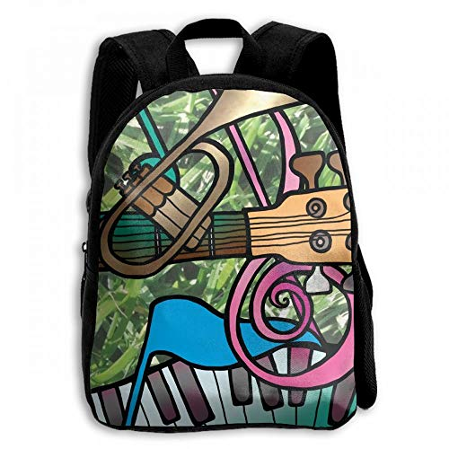 ADGBag Music with Instrument Student School Backpacks Canvas Book Bag Casual Daypack Travel For Children Mochila para niños