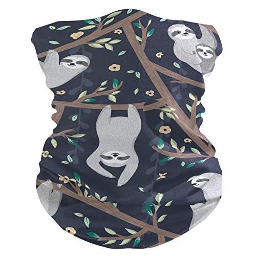 Damen Stoff-Gesichtsmaske, multifunktional, Bandanas, Schnittmuster, unisex, Faultier auf Baum, Stoffmaske, Muster, bedruckbar, für Herren und Damen, Kopfband, Gesichtsband, waschbar, Innentasche