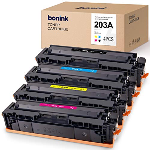BONINK 4 Toner Kompatibel für HP Color Laserjet Pro MFP M281FDW M281FDN M280NW M254NW M254DW Druckerpatronen für HP 203A CF540A patronen (Schwarz/Cyan/Magenta/Gelb)